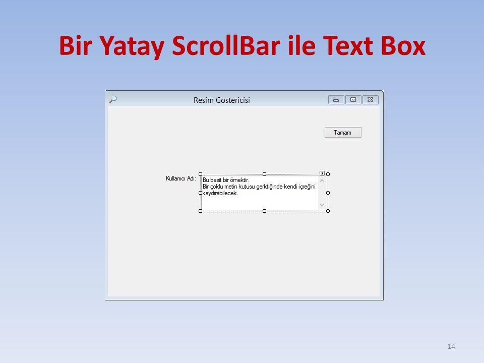 Bir Yatay ScrollBar ile Text Box 14