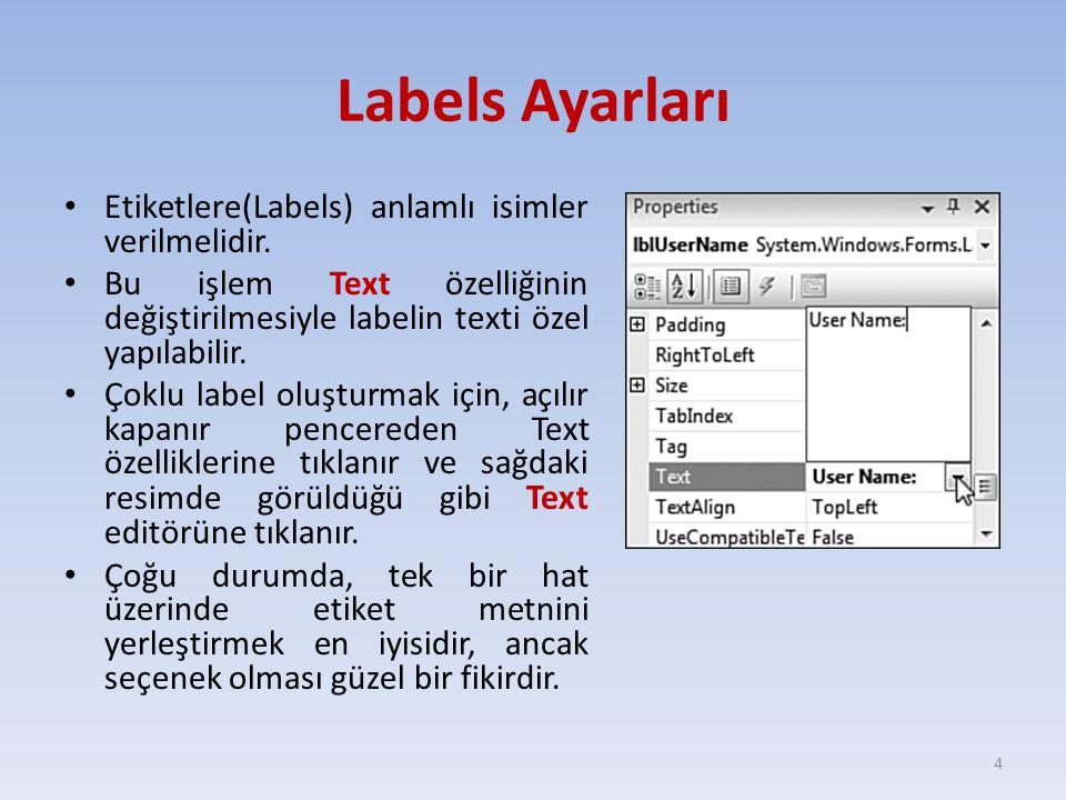 Labels Ayarları Etiketlere(Labels) anlamlı isimler verilmelidir. Bu işlem Text özelliğinin değiştirilmesiyle labelin texti özel yapılabilir. Çoklu lab