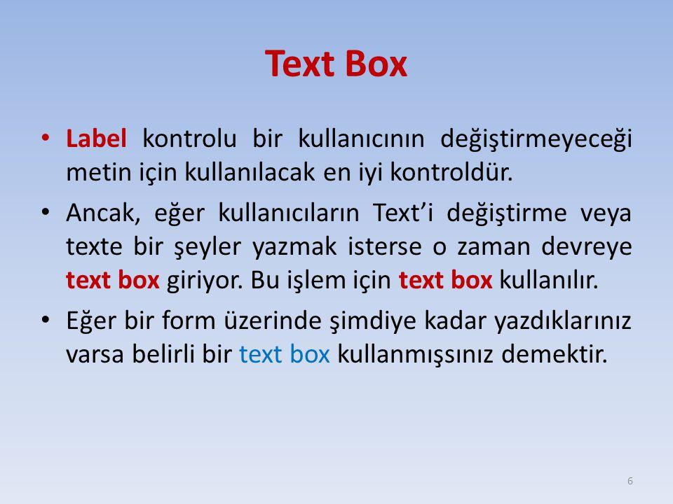 Text Box Label kontrolu bir kullanıcının değiştirmeyeceği metin için kullanılacak en iyi kontroldür. Ancak, eğer kullanıcıların Text'i değiştirme veya