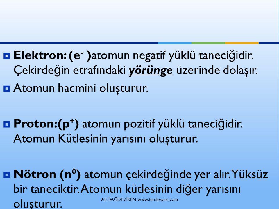  Elektron: (e - )atomun negatif yüklü taneci ğ idir.