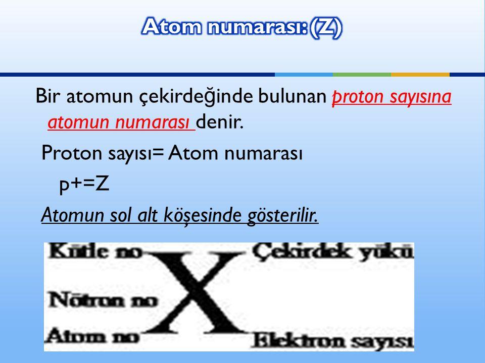 Ali DA Ğ DEV İ REN-www.fendosyasi.com Bir atomun çekirde ğ inde bulunan proton sayısına atomun numarası denir.