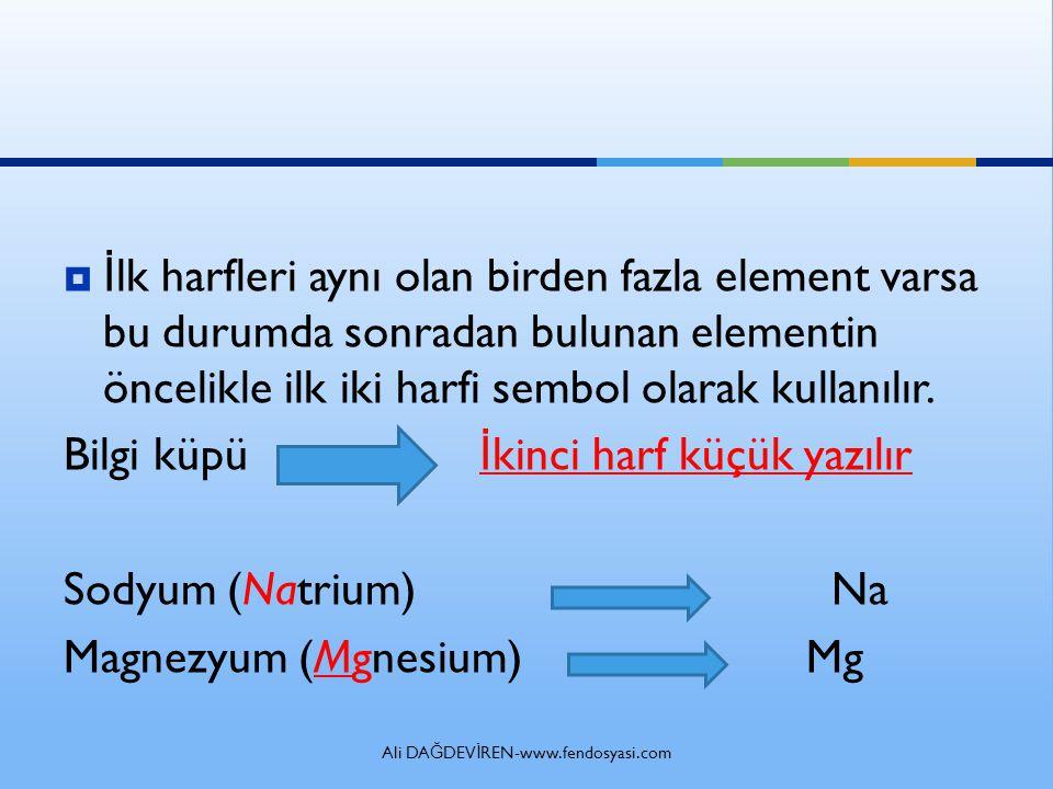 Ali DA Ğ DEV İ REN-www.fendosyasi.com  İ lk harfleri aynı olan birden fazla element varsa bu durumda sonradan bulunan elementin öncelikle ilk iki harfi sembol olarak kullanılır.