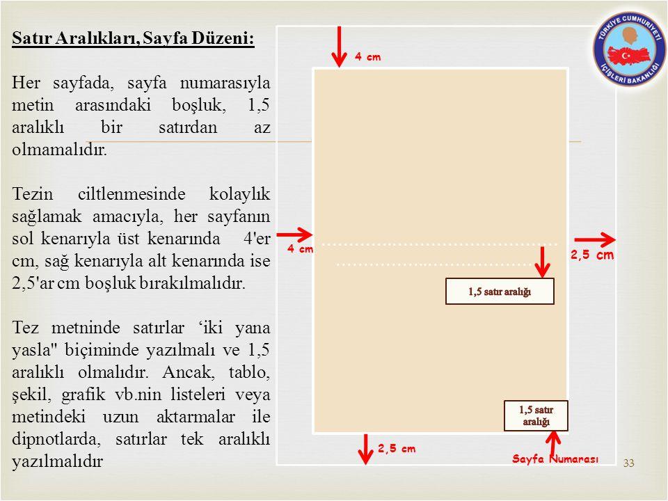  2,5 cm ………….………………………… ……………..………………… 4 cm 2,5 cm Sayfa Numarası Satır Aralıkları, Sayfa Düzeni: Her sayfada, sayfa numarasıyla metin arasındaki boş