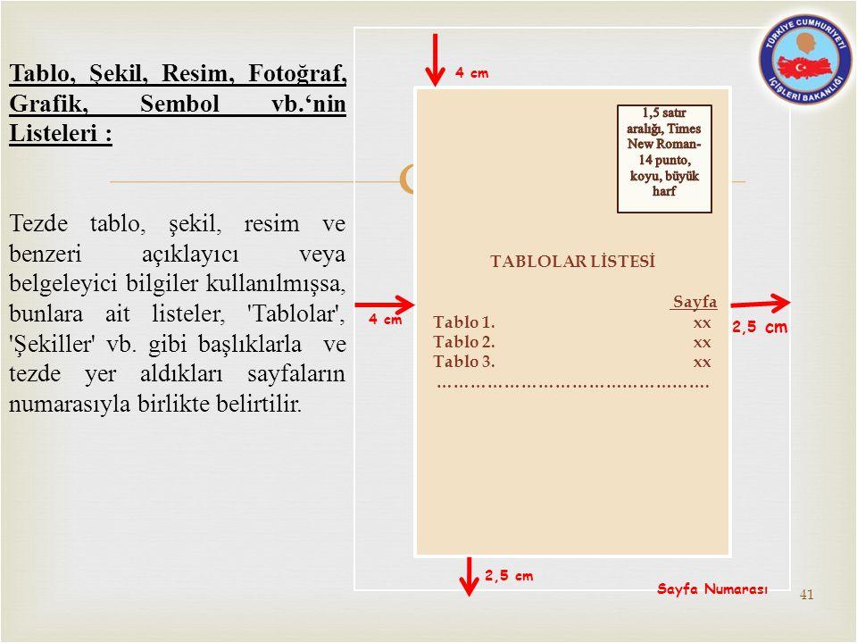  2,5 cm TABLOLAR LİSTESİ Sayfa Tablo 1. xx Tablo 2. xx Tablo 3. xx …………………………………………. 4 cm 2,5 cm Sayfa Numarası Tablo, Şekil, Resim, Fotoğraf, Grafik