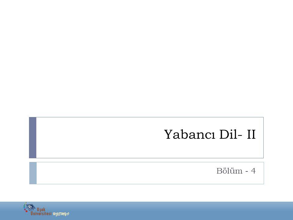 ADJECTIVES (SIFATLAR) Comparatives and Superlatives Yabancı Dil- II