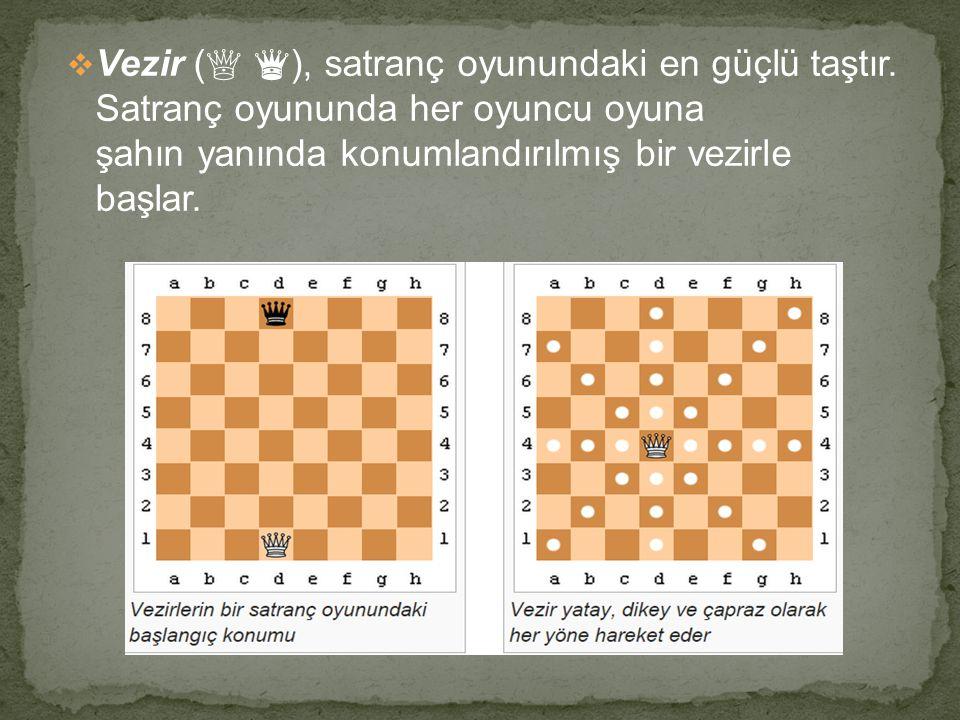  Vezir ( ♕ ♛ ), satranç oyunundaki en güçlü taştır. Satranç oyununda her oyuncu oyuna şahın yanında konumlandırılmış bir vezirle başlar.