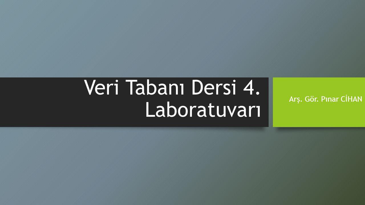 Veri Tabanı Dersi 4. Laboratuvarı Arş. Gör. Pınar CİHAN