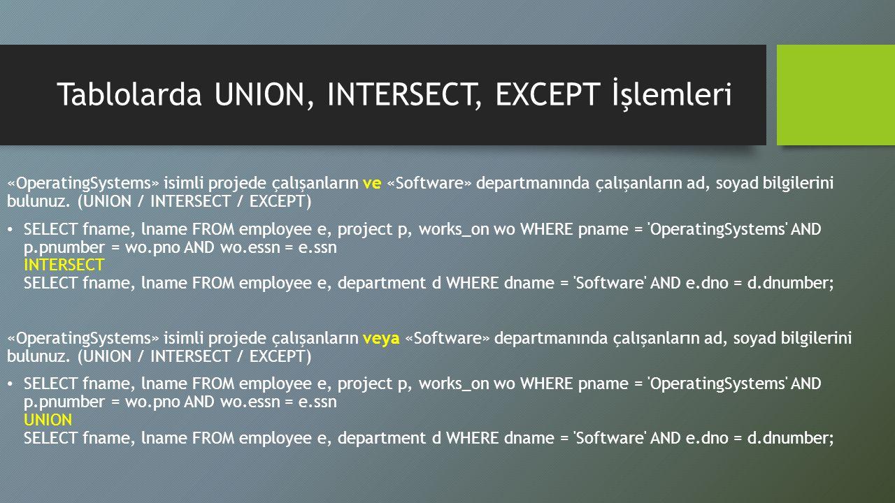 Tablolarda UNION, INTERSECT, EXCEPT İşlemleri «OperatingSystems» isimli projede çalışanların ve «Software» departmanında çalışanların ad, soyad bilgil
