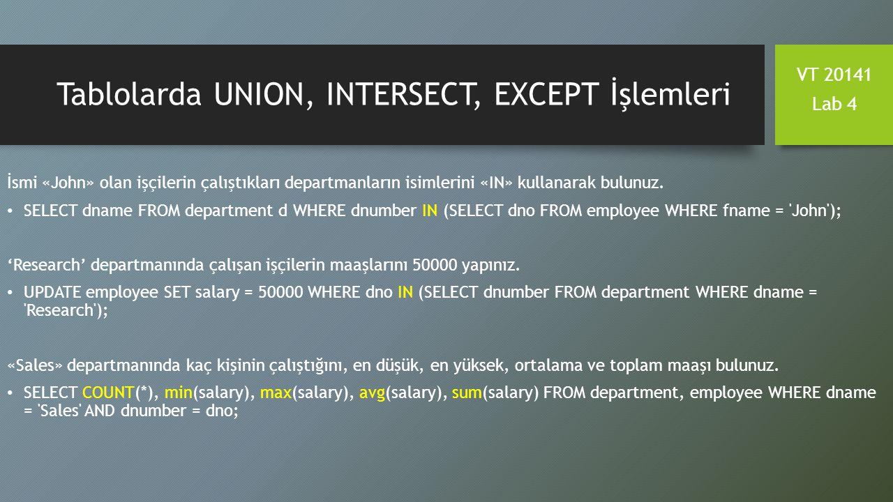 Tablolarda UNION, INTERSECT, EXCEPT İşlemleri İsmi «John» olan işçilerin çalıştıkları departmanların isimlerini «IN» kullanarak bulunuz. SELECT dname