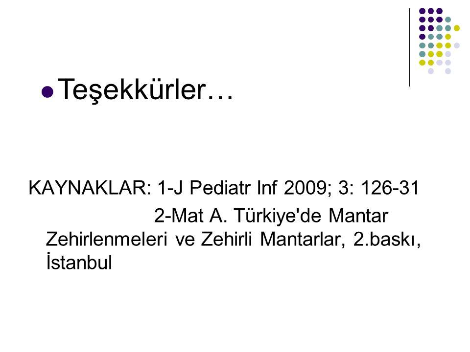 KAYNAKLAR: 1-J Pediatr Inf 2009; 3: 126-31 2-Mat A.