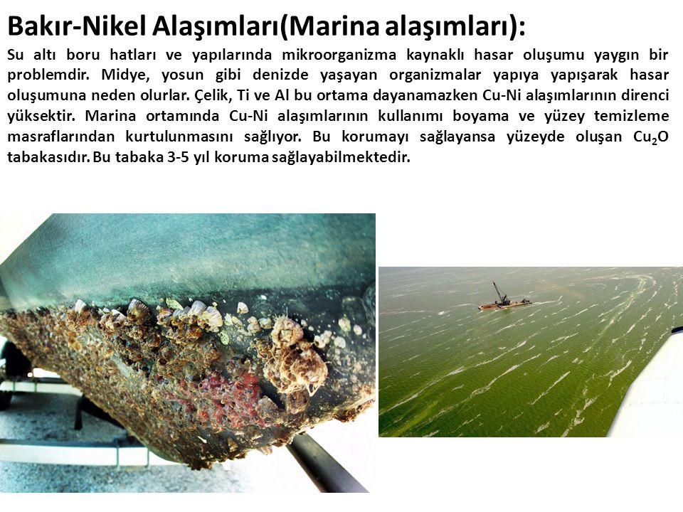 Bakır-Nikel Alaşımları(Marina alaşımları): Su altı boru hatları ve yapılarında mikroorganizma kaynaklı hasar oluşumu yaygın bir problemdir.