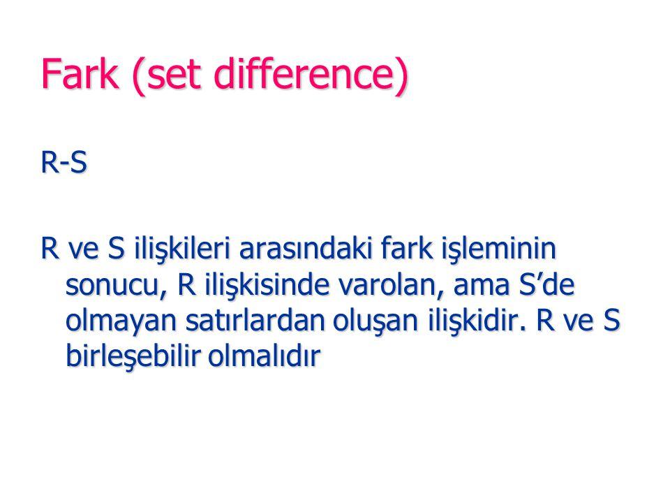 Fark (set difference) R-S R ve S ilişkileri arasındaki fark işleminin sonucu, R ilişkisinde varolan, ama S'de olmayan satırlardan oluşan ilişkidir. R