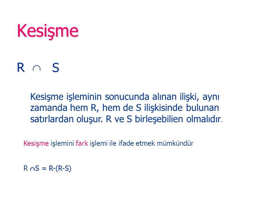 Kesişme R  S Kesişme işleminin sonucunda alınan ilişki, aynı zamanda hem R, hem de S ilişkisinde bulunan satırlardan oluşur.