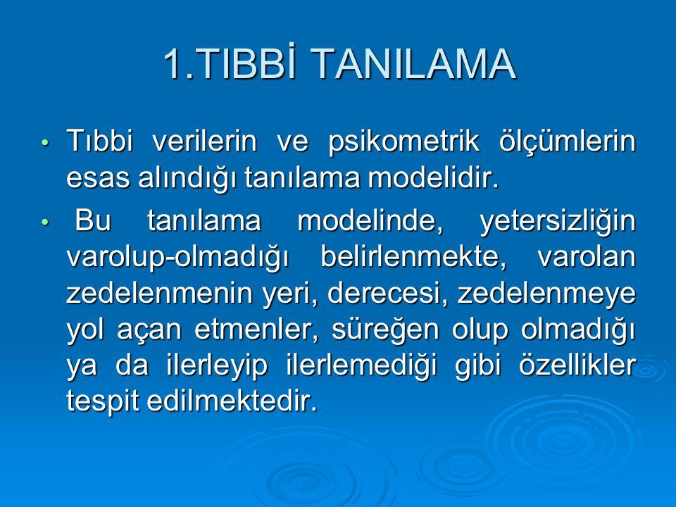 1.TIBBİ TANILAMA Tıbbi verilerin ve psikometrik ölçümlerin esas alındığı tanılama modelidir. Tıbbi verilerin ve psikometrik ölçümlerin esas alındığı t