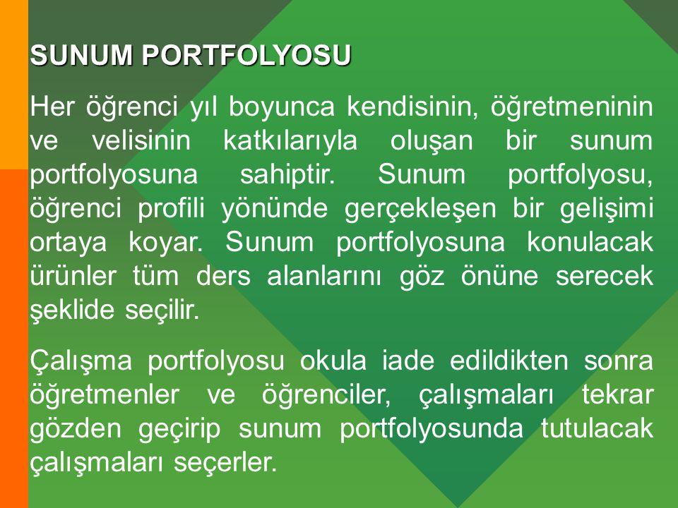 SUNUM PORTFOLYOSU Her öğrenci yıl boyunca kendisinin, öğretmeninin ve velisinin katkılarıyla oluşan bir sunum portfolyosuna sahiptir.