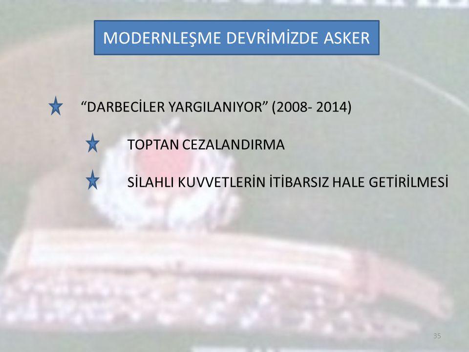 """MODERNLEŞME DEVRİMİZDE ASKER 35 """"DARBECİLER YARGILANIYOR"""" (2008- 2014) TOPTAN CEZALANDIRMA SİLAHLI KUVVETLERİN İTİBARSIZ HALE GETİRİLMESİ"""