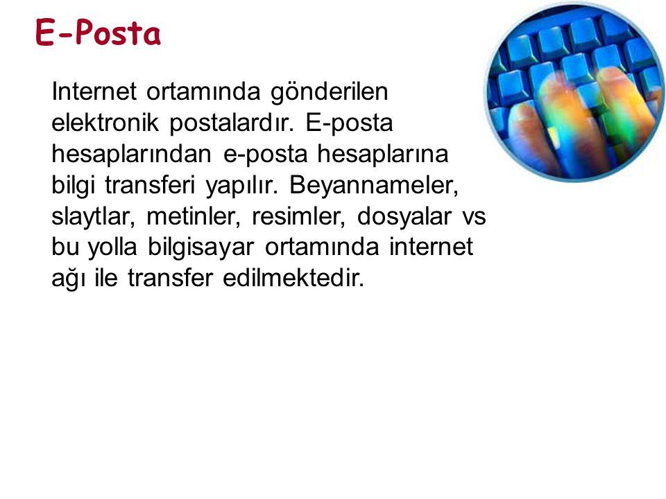 E-Posta Internet ortamında gönderilen elektronik postalardır. E-posta hesaplarından e-posta hesaplarına bilgi transferi yapılır. Beyannameler, slaytla