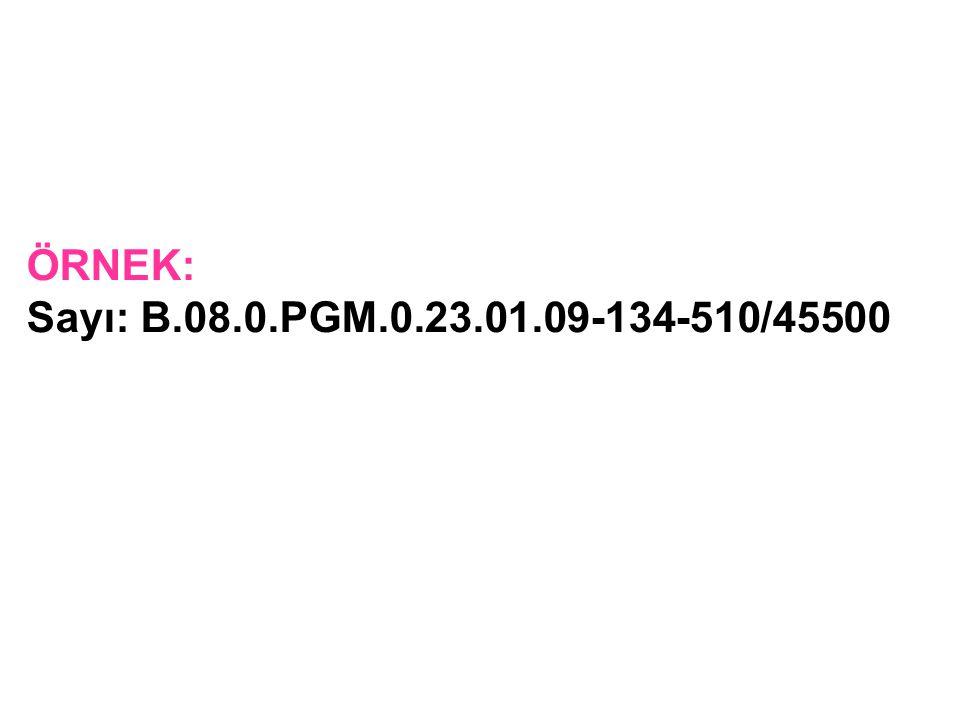 ÖRNEK: Sayı: B.08.0.PGM.0.23.01.09-134-510/45500