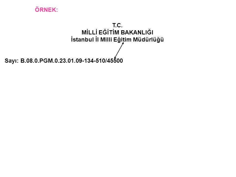 T.C. MİLLİ EĞİTİM BAKANLIĞI İstanbul İl Milli Eğitim Müdürlüğü Sayı: B.08.0.PGM.0.23.01.09-134-510/45500 ÖRNEK: