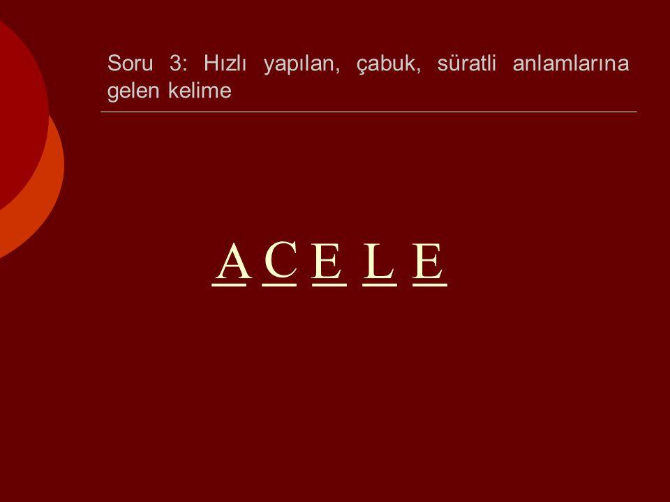 Soru 3: Hızlı yapılan, çabuk, süratli anlamlarına gelen kelime _ _ _ _ _ A C ELE