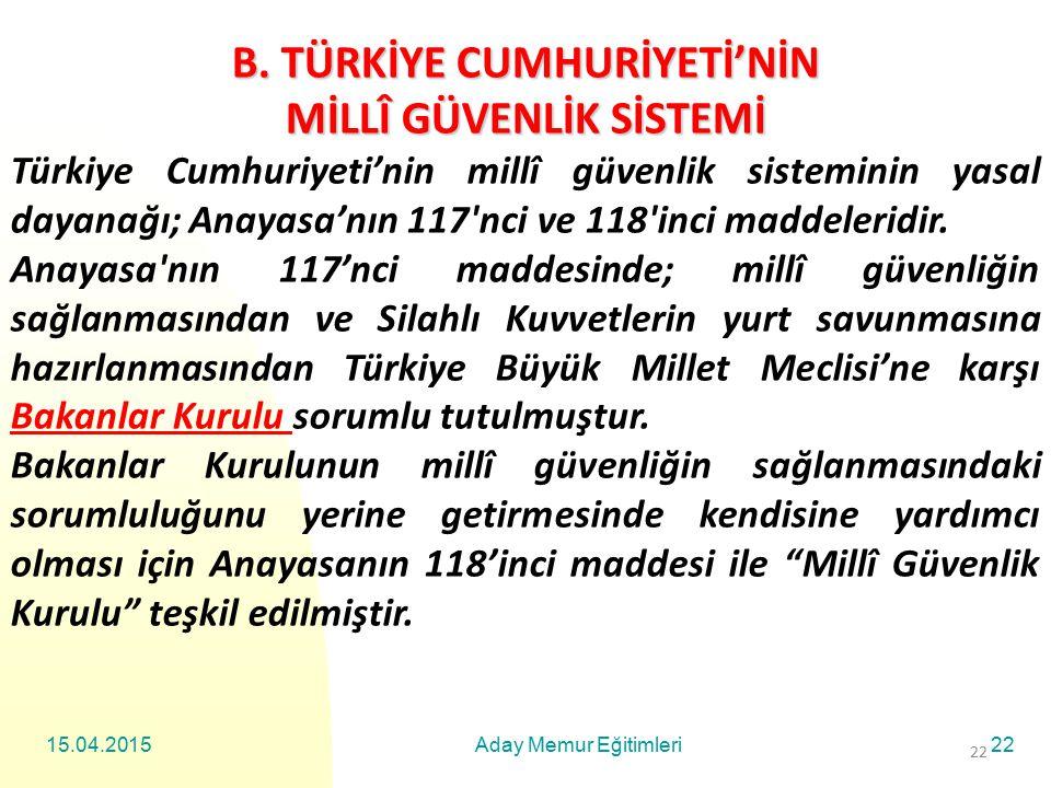 15.04.2015Aday Memur Eğitimleri22 B. TÜRKİYE CUMHURİYETİ'NİN MİLLÎ GÜVENLİK SİSTEMİ Türkiye Cumhuriyeti'nin millî güvenlik sisteminin yasal dayanağı;