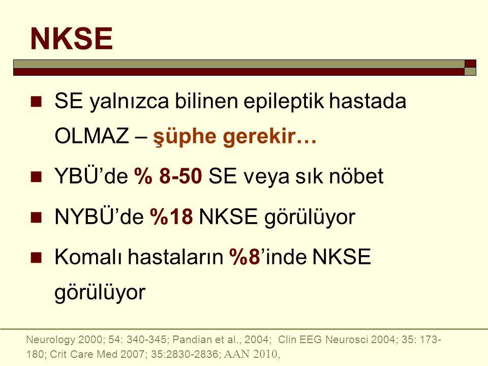 NKSE SE yalnızca bilinen epileptik hastada OLMAZ – şüphe gerekir… YBÜ'de % 8-50 SE veya sık nöbet NYBÜ'de %18 NKSE görülüyor Komalı hastaların %8'inde NKSE görülüyor Neurology 2000; 54: 340-345; Pandian et al., 2004; Clin EEG Neurosci 2004; 35: 173- 180; Crit Care Med 2007; 35:2830-2836; AAN 2010,