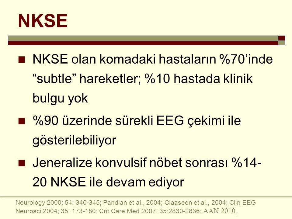 NKSE NKSE olan komadaki hastaların %70'inde subtle hareketler; %10 hastada klinik bulgu yok %90 üzerinde sürekli EEG çekimi ile gösterilebiliyor Jeneralize konvulsif nöbet sonrası %14- 20 NKSE ile devam ediyor Neurology 2000; 54: 340-345; Pandian et al., 2004; Claaseen et al., 2004; Clin EEG Neurosci 2004; 35: 173-180; Crit Care Med 2007; 35:2830-2836; AAN 2010,