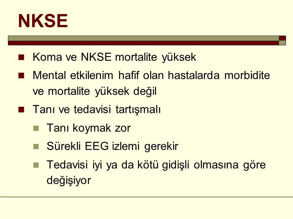 NKSE Koma ve NKSE mortalite yüksek Mental etkilenim hafif olan hastalarda morbidite ve mortalite yüksek değil Tanı ve tedavisi tartışmalı Tanı koymak zor Sürekli EEG izlemi gerekir Tedavisi iyi ya da kötü gidişli olmasına göre değişiyor