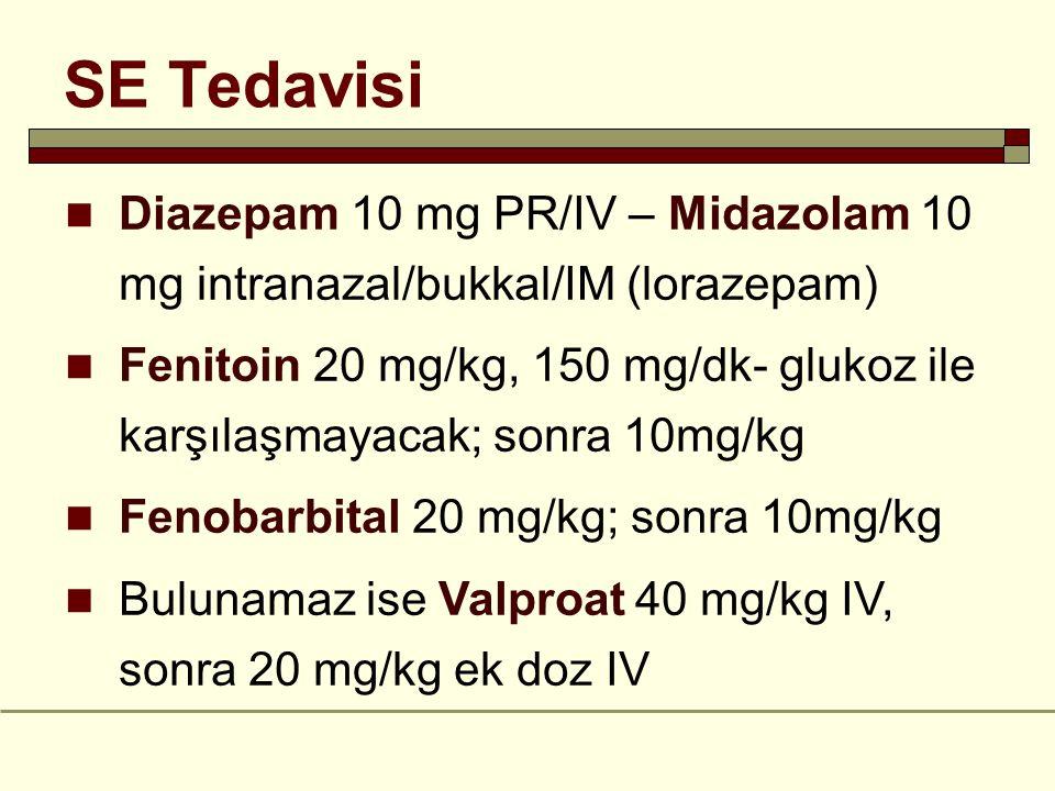 SE Tedavisi Diazepam 10 mg PR/IV – Midazolam 10 mg intranazal/bukkal/IM (lorazepam) Fenitoin 20 mg/kg, 150 mg/dk- glukoz ile karşılaşmayacak; sonra 10mg/kg Fenobarbital 20 mg/kg; sonra 10mg/kg Bulunamaz ise Valproat 40 mg/kg IV, sonra 20 mg/kg ek doz IV