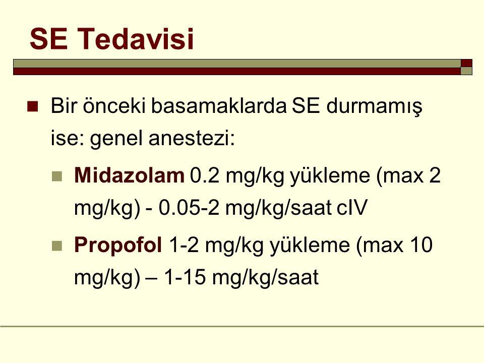 SE Tedavisi Bir önceki basamaklarda SE durmamış ise: genel anestezi: Midazolam 0.2 mg/kg yükleme (max 2 mg/kg) - 0.05-2 mg/kg/saat cIV Propofol 1-2 mg/kg yükleme (max 10 mg/kg) – 1-15 mg/kg/saat