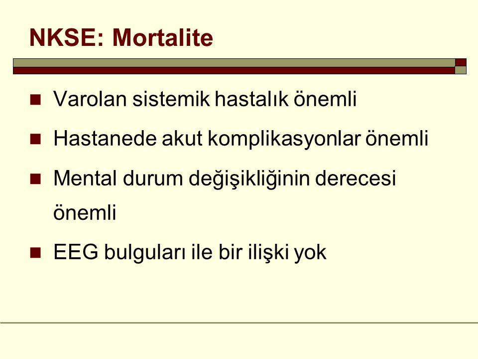 NKSE: Mortalite Varolan sistemik hastalık önemli Hastanede akut komplikasyonlar önemli Mental durum değişikliğinin derecesi önemli EEG bulguları ile bir ilişki yok