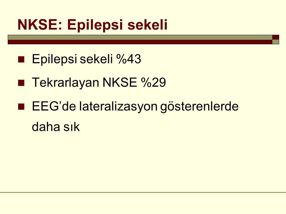 NKSE: Epilepsi sekeli Epilepsi sekeli %43 Tekrarlayan NKSE %29 EEG'de lateralizasyon gösterenlerde daha sık