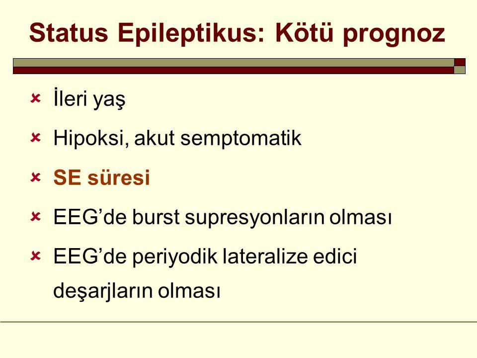 Status Epileptikus: Kötü prognoz  İleri yaş  Hipoksi, akut semptomatik  SE süresi  EEG'de burst supresyonların olması  EEG'de periyodik lateralize edici deşarjların olması