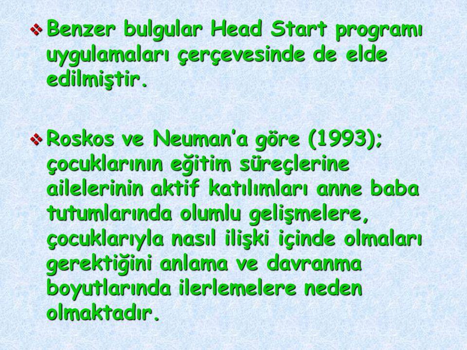  Benzer bulgular Head Start programı uygulamaları çerçevesinde de elde edilmiştir.  Roskos ve Neuman'a göre (1993); çocuklarının eğitim süreçlerine