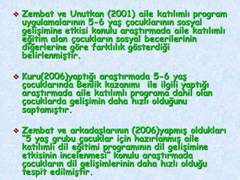  Zembat ve Unutkan (2001) aile katılımlı program uygulamalarının 5-6 yaş çocuklarının sosyal gelişimine etkisi konulu araştırmada aile katılımlı eğitim alan çocukların sosyal becerilerinin diğerlerine göre farklılık gösterdiği belirlenmiştir.