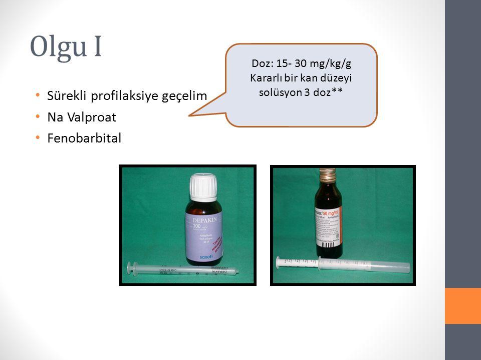 Olgu I Rp/ 28.03.2014 1.Convulex sirop S: 3x50 mg 7 gün sonra 50+50+100 mg 7gün sonra 50+100+100 mg 3x100 mg ile devam 2.Polivit sirop S: 1x1 ölçek