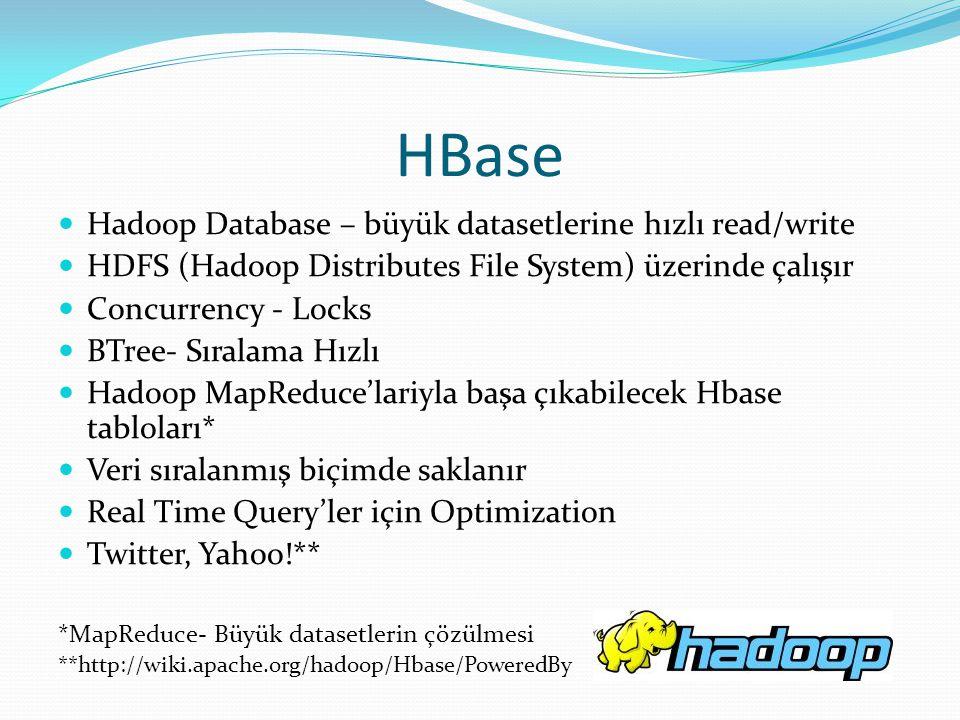 HBase Hadoop Database – büyük datasetlerine hızlı read/write HDFS (Hadoop Distributes File System) üzerinde çalışır Concurrency - Locks BTree- Sıralam