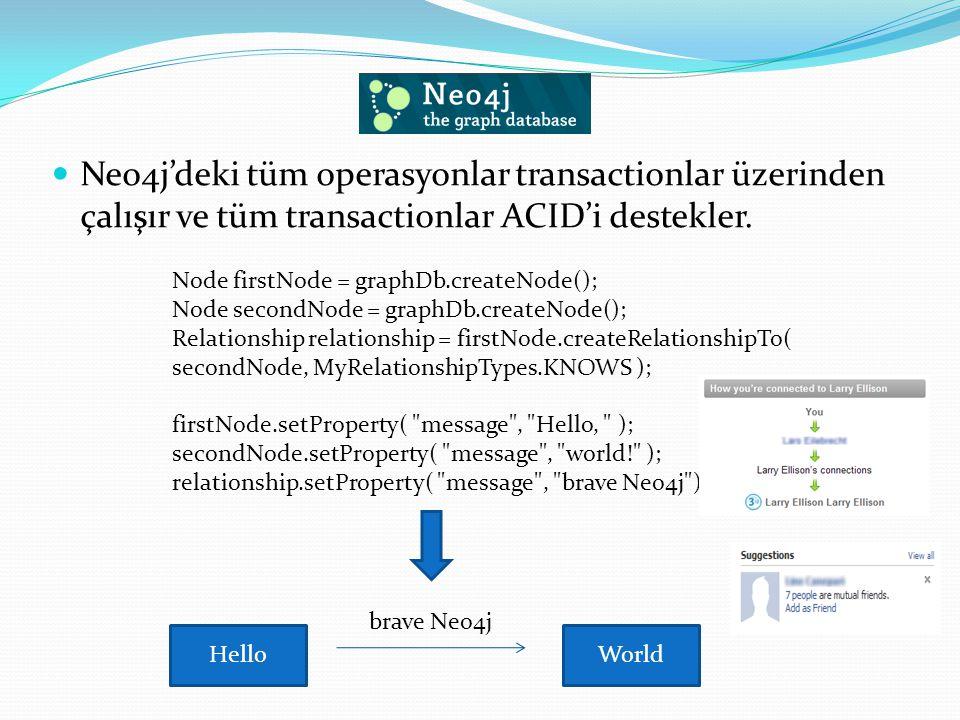 Neo4j'deki tüm operasyonlar transactionlar üzerinden çalışır ve tüm transactionlar ACID'i destekler. Node firstNode = graphDb.createNode(); Node secon