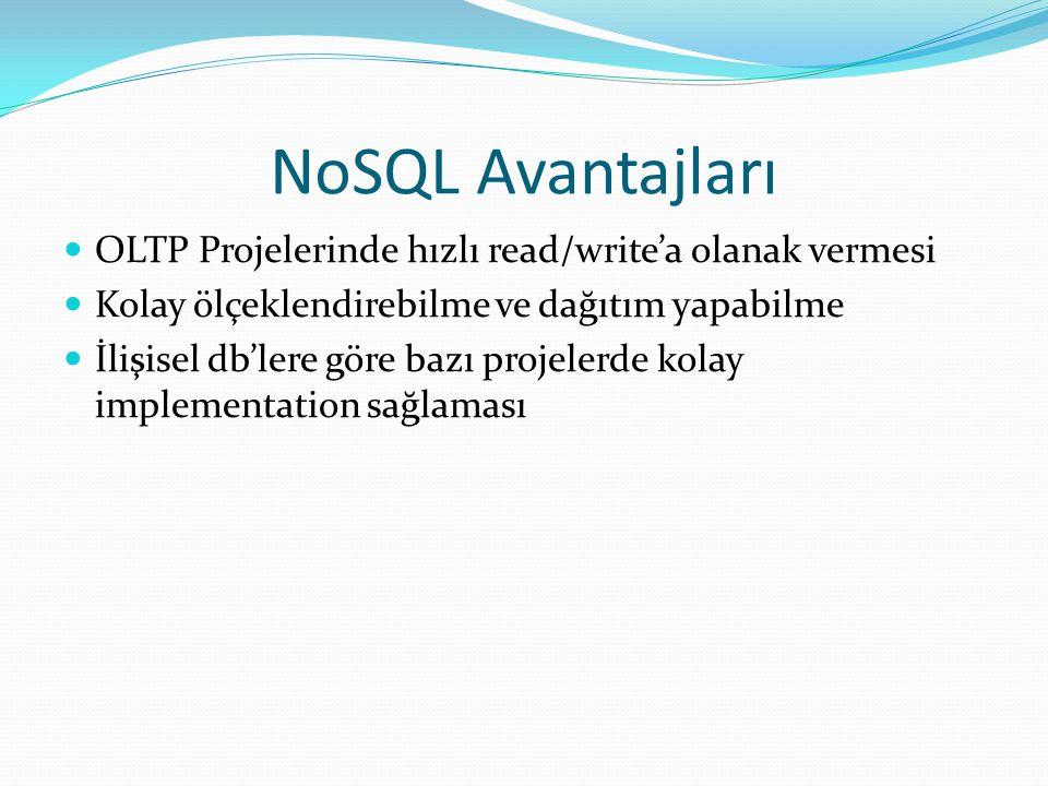 NoSQL Avantajları OLTP Projelerinde hızlı read/write'a olanak vermesi Kolay ölçeklendirebilme ve dağıtım yapabilme İlişisel db'lere göre bazı projeler