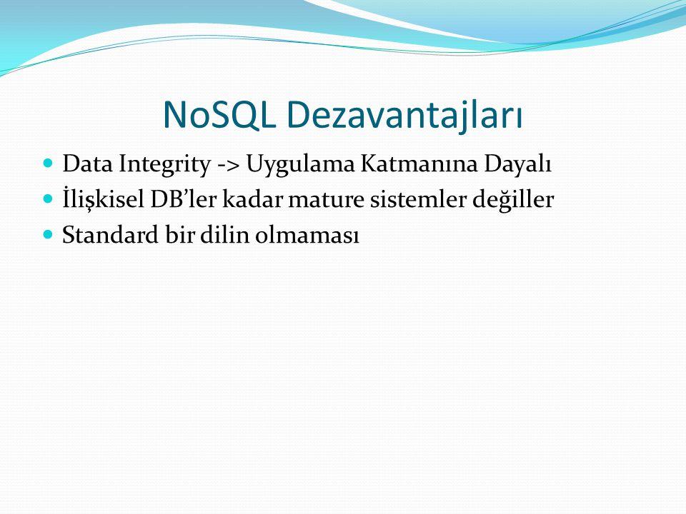 NoSQL Dezavantajları Data Integrity -> Uygulama Katmanına Dayalı İlişkisel DB'ler kadar mature sistemler değiller Standard bir dilin olmaması