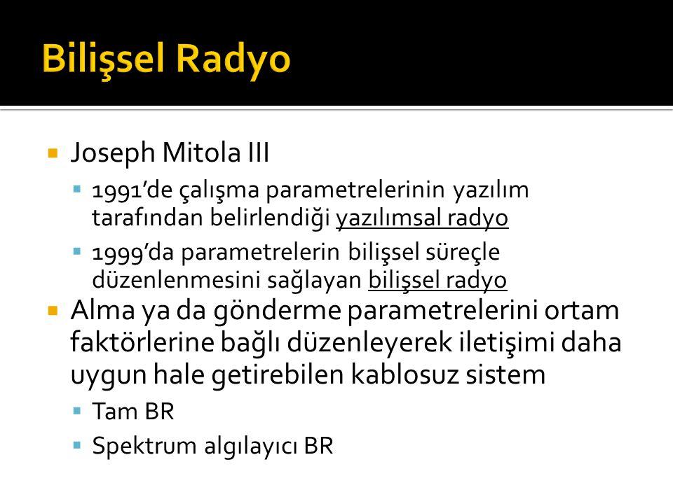  Joseph Mitola III  1991'de çalışma parametrelerinin yazılım tarafından belirlendiği yazılımsal radyo  1999'da parametrelerin bilişsel süreçle düze