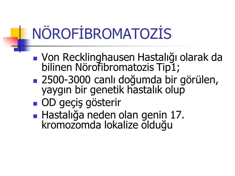 NÖROFİBROMATOZİS Von Recklinghausen Hastalığı olarak da bilinen Nörofibromatozis Tip1; 2500-3000 canlı doğumda bir görülen, yaygın bir genetik hastalı