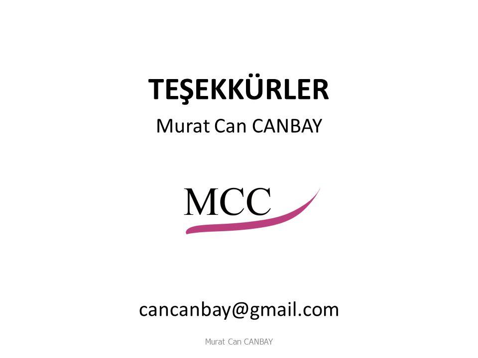 TEŞEKKÜRLER Murat Can CANBAY cancanbay@gmail.com Murat Can CANBAY