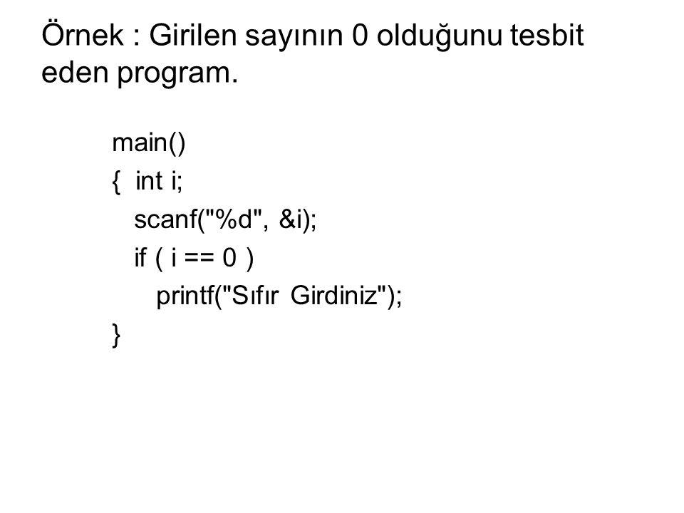 Örnek : Girilen sayının 0 olduğunu tesbit eden program.