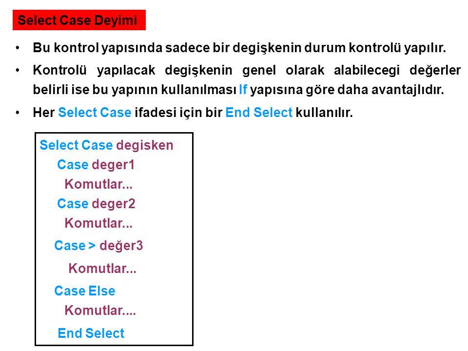 Select Case Deyimi Bu kontrol yapısında sadece bir degişkenin durum kontrolü yapılır. Kontrolü yapılacak degişkenin genel olarak alabilecegi değerler