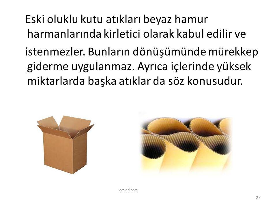 Eski oluklu kutu atıkları beyaz hamur harmanlarında kirletici olarak kabul edilir ve istenmezler. Bunların dönüşümünde mürekkep giderme uygulanmaz. Ay