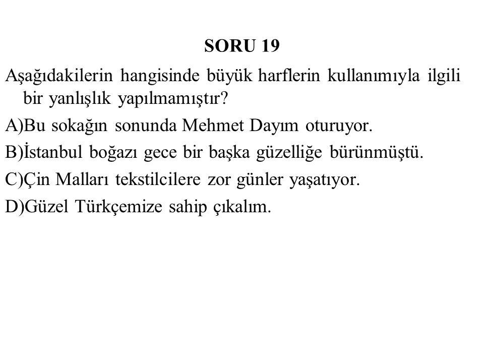 SORU 19 Aşağıdakilerin hangisinde büyük harflerin kullanımıyla ilgili bir yanlışlık yapılmamıştır? A)Bu sokağın sonunda Mehmet Dayım oturuyor. B)İstan