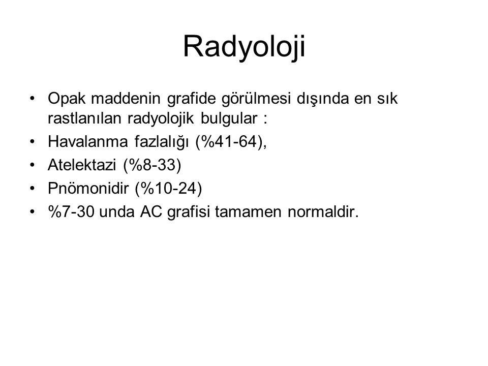 Radyoloji Opak maddenin grafide görülmesi dışında en sık rastlanılan radyolojik bulgular : Havalanma fazlalığı (%41-64), Atelektazi (%8-33) Pnömonidir (%10-24) %7-30 unda AC grafisi tamamen normaldir.