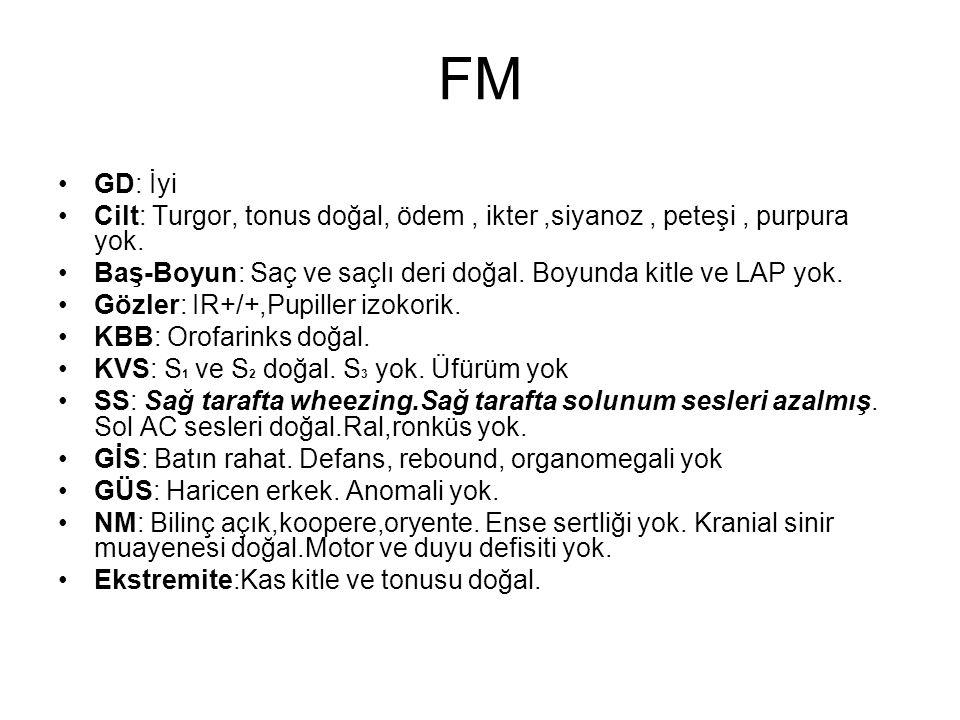 FM GD: İyi Cilt: Turgor, tonus doğal, ödem, ikter,siyanoz, peteşi, purpura yok.
