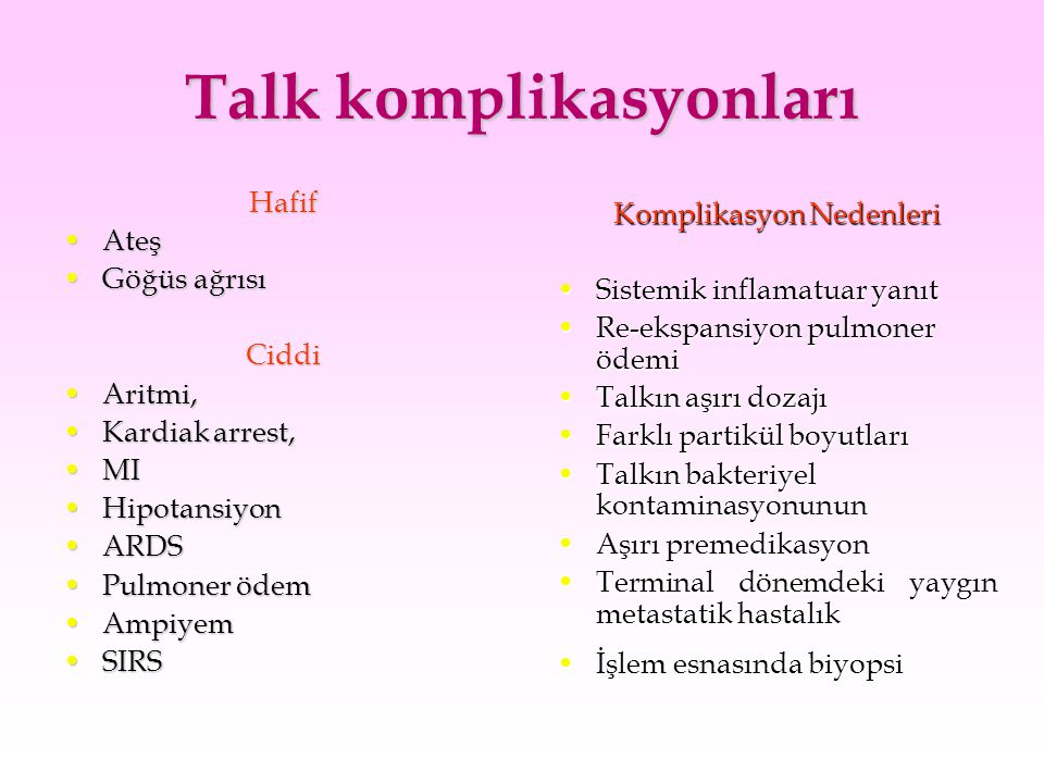Talk komplikasyonları Hafif AteşAteş Göğüs ağrısıGöğüs ağrısıCiddi Aritmi,Aritmi, Kardiak arrest,Kardiak arrest, MIMI HipotansiyonHipotansiyon ARDSARD